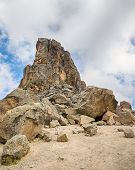 stock photo of kilimanjaro  - Lava Tower challenges the clouds - JPG