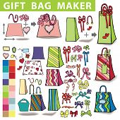 Постер, плакат: Gift bags maker Colorful Doodle set