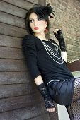 stock photo of gothic girl  - Beautiful girl in a gothic inspired outfit. ** Note: Soft Focus at 100%, best at smaller sizes - JPG