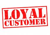 stock photo of clientele  - LOYAL CUSTOMER red Rubber Stamp over a white background - JPG