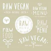 image of vegan  - Old textured raw vegan badges - JPG