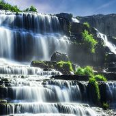 stock photo of lats  - Tropical rainforest landscape with flowing Pongour waterfall - JPG