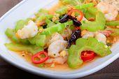 image of bitter melon  - The Fried bitter melon with shrimpThai food - JPG