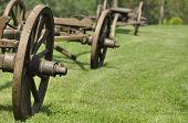 picture of wagon wheel  - Wagon with wooden wheels. Museum renovated monument. waggon-driving ** Note: Soft Focus at 100%, best at smaller sizes - JPG