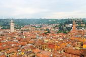 stock photo of red roof  - Red roofs of the city center - JPG