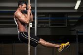 stock photo of roping  - Fitness Rope Climb Exercise In Fitness Gym Workout - JPG