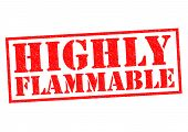 stock photo of unsafe  - HIGHLY FLAMMABLE red Rubber Stamp over a white background - JPG
