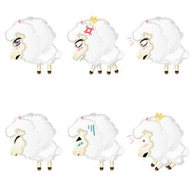 stock photo of chibi  - Set of cute sheep chibi style in different expressions - JPG
