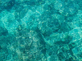 stock photo of homogeneous  - Abstract image of clear turquoise sea water filling the picture - JPG