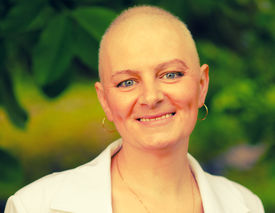 stock photo of chemotherapy  - Happy smiling cancer survivor after successful chemotherapy  - JPG