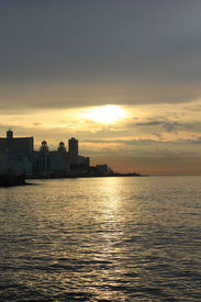 pic of malecon  - Havana Malecon at sunset - JPG