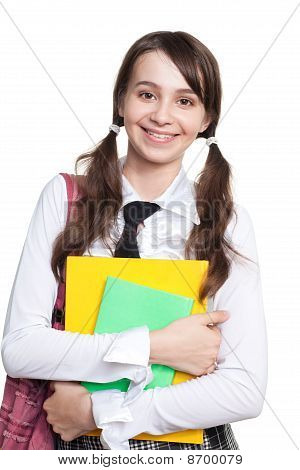 Happy Teen Girl With Books