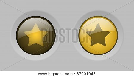 Vector Yellow Glass Star Buttons