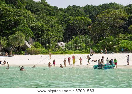 People On The Beach Of One Of The Similan Island, Thailand