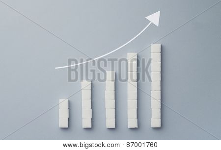 Positive Graph Chart Made Of Sugar Cubes
