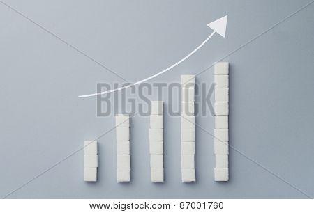 Positive Graph Chart Made Of Sugar Cubes