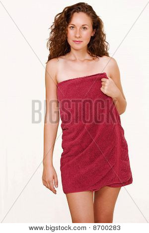 Female In Red Towel