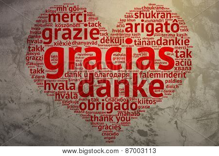 Spanish: Gracias, Heart Shaped Word Cloud Thanks, Grunge Background