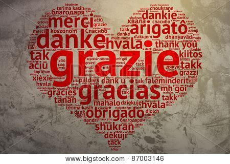 Italin: Grazie, Heart Shaped Word Cloud Thanks, Grunge Background