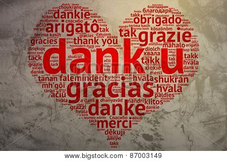 Dutch Dank U, Heart Shaped Word Cloud Thanks, Grunge Background