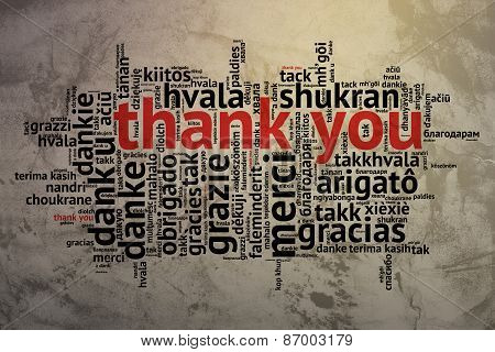 English Thank You, Open Word Cloud, Thanks, Grunge Background