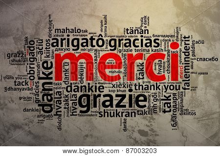 French Merci, Open Word Cloud, Thanks, Grunge Background