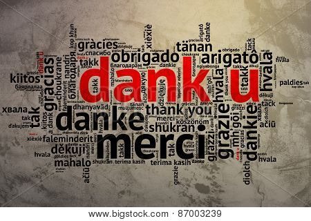 Dutch: Dank U, Open Word Cloud, Thanks, Grunge Background