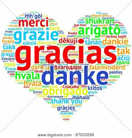 Spanish: Gracias, Heart Shaped Word Cloud Thanks, On White