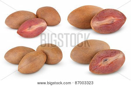 Fresh Sapodilla Plums With Cut On White