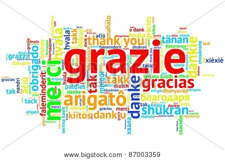 Italian - Grazie, Open Word Cloud, Thanks, On White