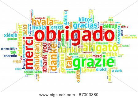 Portuguese Obrigado, Open Word Cloud, On White