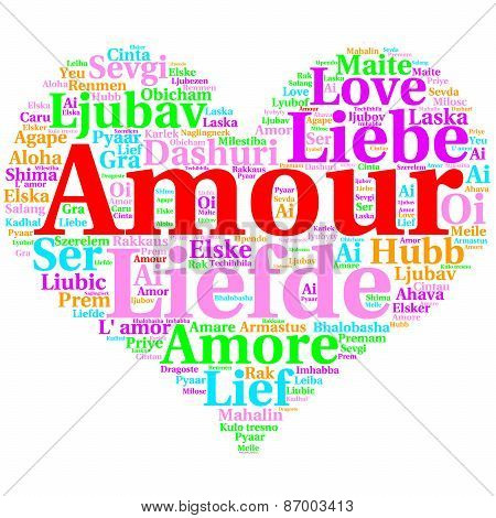 French: Amour. Heart Shaped Word Cloud Love, On White
