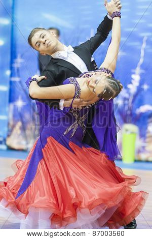 Minsk, Belarus-february 15, 2015: Dance Couple Of Shmidt Danila And Alina Gumenyuk