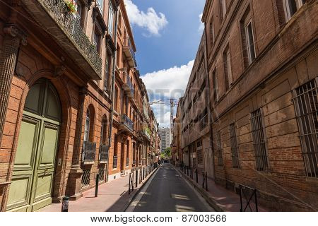 Typical Small Street And Architecture In Toulouse