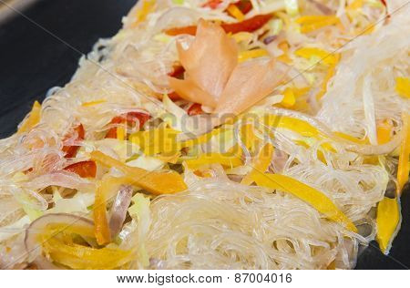 Glass Noodles At A Chinese Restaurant Buffet