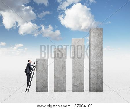 Business People Are Looking For Success. Cloudy Sky Background