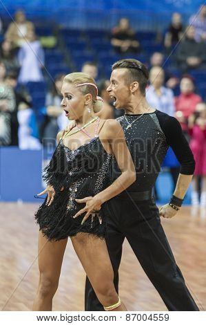 Minsk, Belarus-february 15,2015: Kosyakov Egor And Belmach Anastasiya From Belarus
