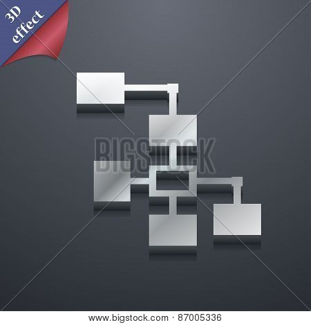 Local Network Icon Symbol. 3D Style. Trendy, Modern Design With Space For Your Text Vector