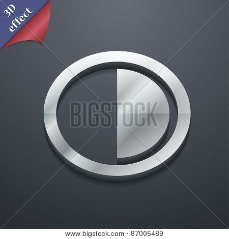 Contrast Icon Symbol. 3D Style. Trendy, Modern Design With Space For Your Text Vector