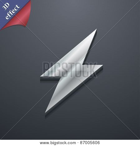 Photo Flash Icon Symbol. 3D Style. Trendy, Modern Design With Space For Your Text Vector