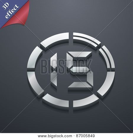 15 Second Stopwatch Icon Symbol. 3D Style. Trendy, Modern Design With Space For Your Text Vector