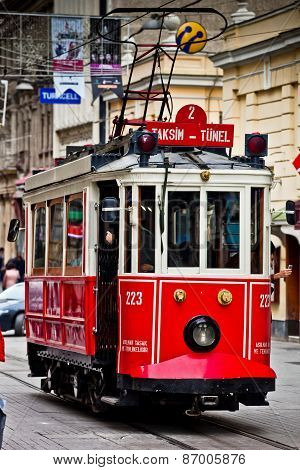 Red Vintage Tram On Taksim Istiklal Street