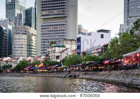 Cafes line the waterfront in Singapore