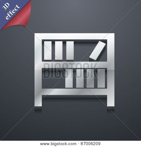 Bookshelf Icon Symbol. 3D Style. Trendy, Modern Design With Space For Your Text Vector