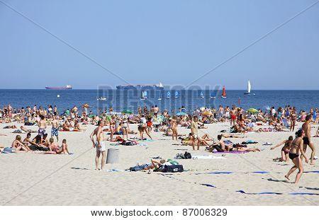 Crowded Municipal Beach In Gdynia, Baltic Sea, Poland