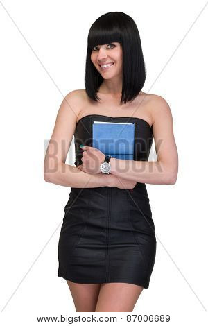 Smiling young business woman with diary