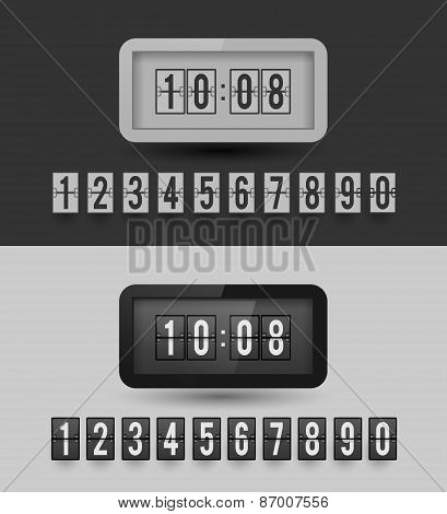 Black and white split-flip display clock.