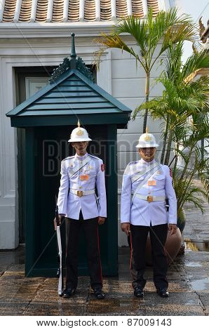 Kings Guard In Grand Royal Palace In Bangkok