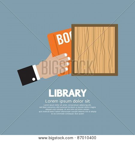 Hand Draw A Book From Shelf.