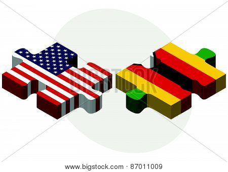 Usa And Zimbabwe Flags In Puzzle